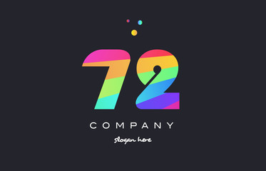 72 seventy two colored rainbow creative number digit numeral logo icon