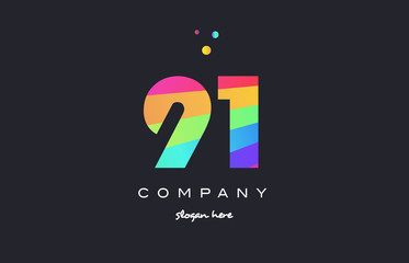 91 ninety one colored rainbow creative number digit numeral logo icon