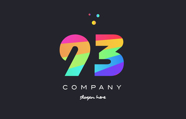93 ninety three colored rainbow creative number digit numeral logo icon