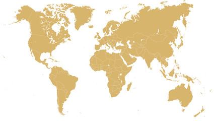 Foto op Plexiglas Wereldkaart Golden World Map