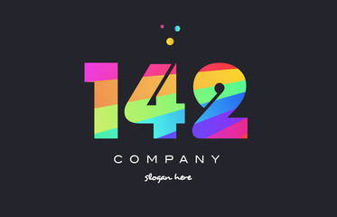 142 colored rainbow creative number digit numeral logo icon