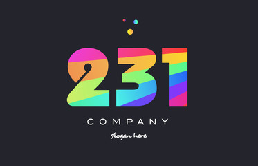 231 colored rainbow creative number digit numeral logo icon