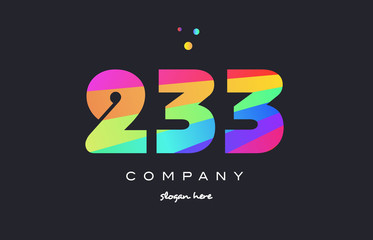 233 colored rainbow creative number digit numeral logo icon