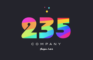 235 colored rainbow creative number digit numeral logo icon
