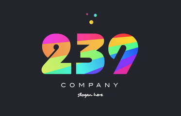 239 colored rainbow creative number digit numeral logo icon