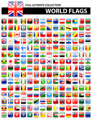 Glossy Square Flags of the World - Full Ultimate Collection