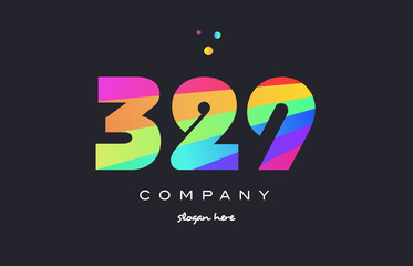 329 colored rainbow creative number digit numeral logo icon