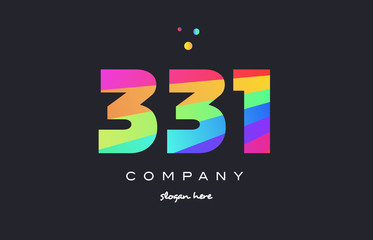 331 colored rainbow creative number digit numeral logo icon