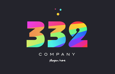 332 colored rainbow creative number digit numeral logo icon