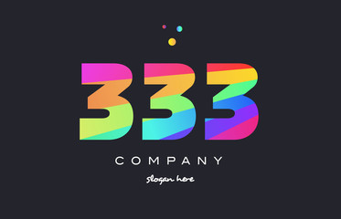 333 colored rainbow creative number digit numeral logo icon