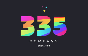 335 colored rainbow creative number digit numeral logo icon