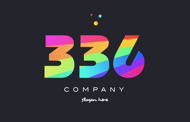 336 colored rainbow creative number digit numeral logo icon