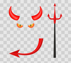 Devil horns, trident, eyes and tail isolated on transparent checkered background. Vector illustration.