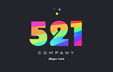 521 colored rainbow creative number digit numeral logo icon