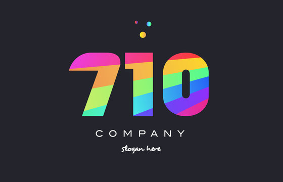 710 colored rainbow creative number digit numeral logo icon