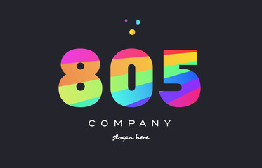 805 colored rainbow creative number digit numeral logo icon