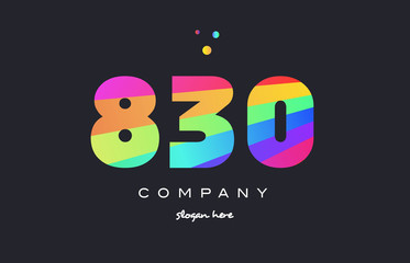 830 colored rainbow creative number digit numeral logo icon