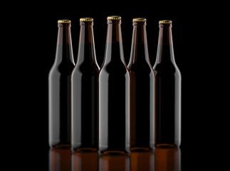 Closeup pin of brown beer bottles.