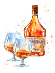 Bottle of cognac and glasses.Picture of a alcoholic drink.Watercolor hand drawn illustration.