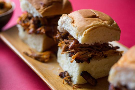 Shredded Pork Sliders with Gochujang BBQ Sauce