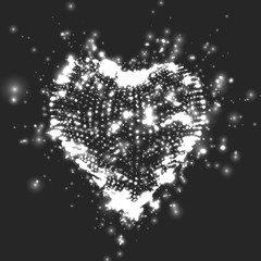 Abstract vector grayscale background with glowing heart. Cloud of white shining points in the shape of a heart. Futuristic style card. Eps10