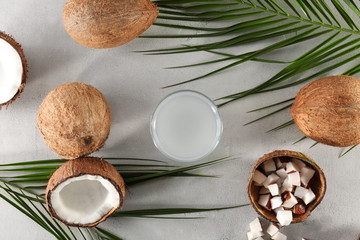 Beautiful composition with coconut water on table