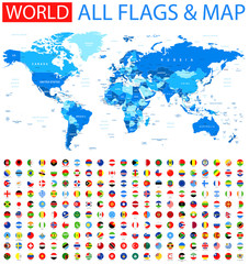 Foto op Plexiglas Wereldkaart All Round Flags and World Map