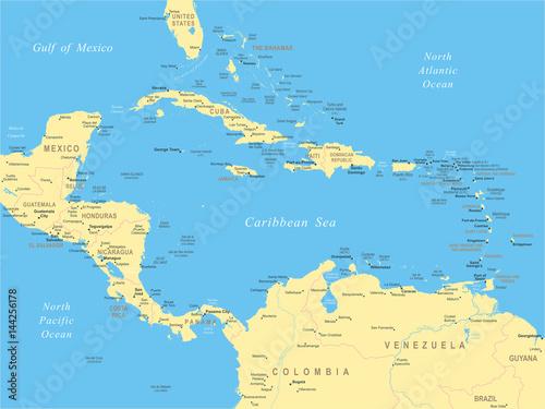 Central America - map - illustration\