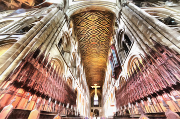Colorful painting of Peterborough Cathedral interior