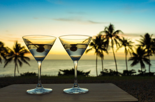 Cocktail drinks on the beach.