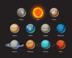 High quality solar system planet galaxy astronomy earth science globe orbit star vector illustration.
