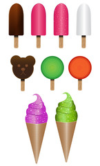 Vector set of ice creams and lolly