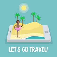 Travel concept. Mobile application. Augmented reality: young black character standing on the sand near by the ocean. Flat editable vector illustration, clip art