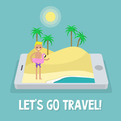 Travel concept. Mobile application. Augmented reality: young character standing on the sand near by the ocean. Flat editable vector illustration, clip art