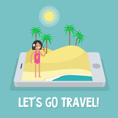 Travel concept. Mobile application. Augmented reality: young female character standing on the sand near by the ocean. Flat editable vector illustration, clip art