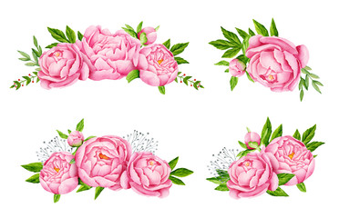 Peony flowers bouquets. Tender pink flowers. Wedding design. Watercolor illustration