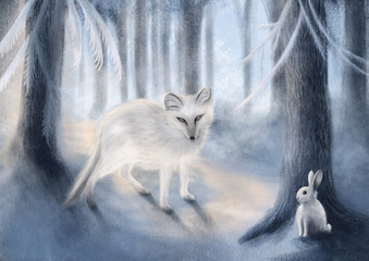 Fox and Rabbit - Digital Painting