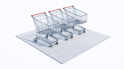 Empty shopping cart, 3d rendering