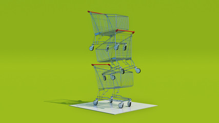 Empty shopping cart, 3d rendering