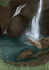 Vernal Fall in Yosemite National Park - Digital Painting
