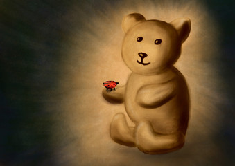 Teddy Bear with Ladybug - Digital Painting