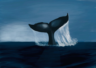 Fin of a humpack whale- Digital Painting