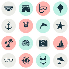 Season Icons Set. Collection Of Tube, Parasol, Video And Other Elements. Also Includes Symbols Such As Hot, Drink, Anchor.
