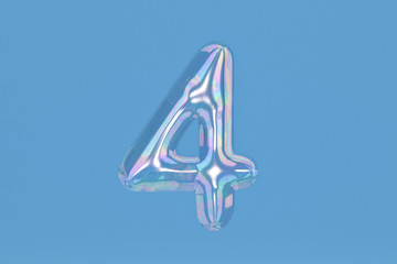 Bubble numeral 4 on blue background include path.3D illustration.