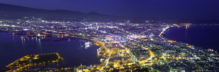 The city of Hakodate in the twilight, panorama