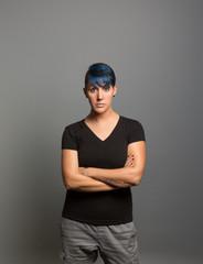 Studio portrait of a pensive young woman
