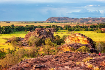 Exploring Ubirr Rock at golden hour in Kakadu National Park, NT, Australia. A superb place to get a view across the open floodplains and across Arnhem Land escarpment.