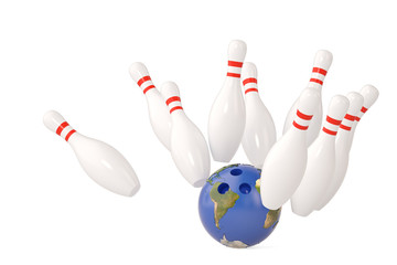 Planet bowling ball and scattered skittle.3D illustration.