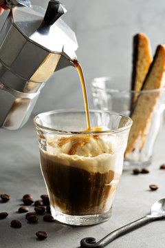 Coffee affogato with vanilla ice cream