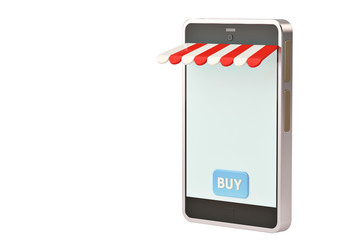 Shop smartphone isolated white background.3D illustration.